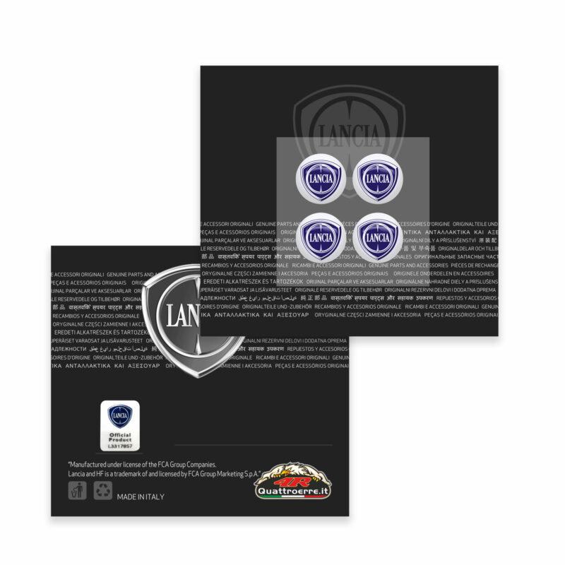 Tappini cappucci coprivalvole auto pneumatici Lancia, adesivi ufficiali con etichetta